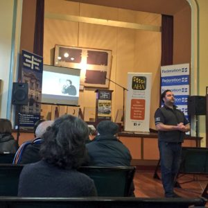 Brett Edgington leads a tour of Ballarat's Trades Hall, the second oldest trade union council in the world.