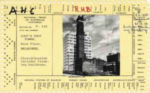 National Trust classification card for Coop's Shot Tower.